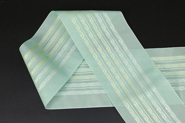 本場筑前博多織 4.3寸紗織 ゆかた帯 正絹半幅帯 波 かがり仕立付 ミントグリーン
