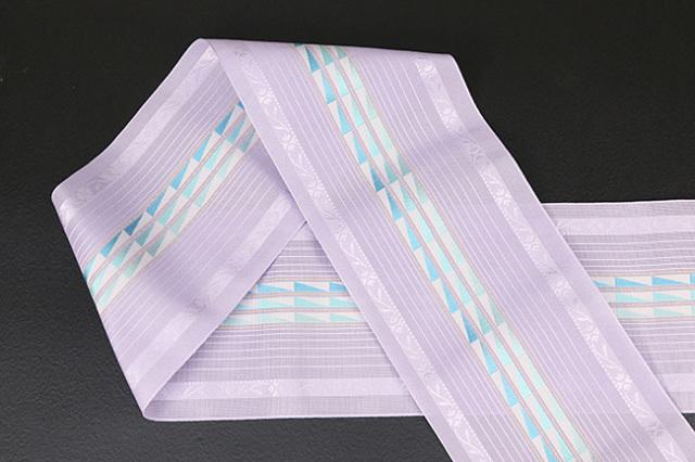 本場筑前博多織 4.3寸紗織 ゆかた帯 正絹半幅帯 三角模様 かがり仕立付 紫