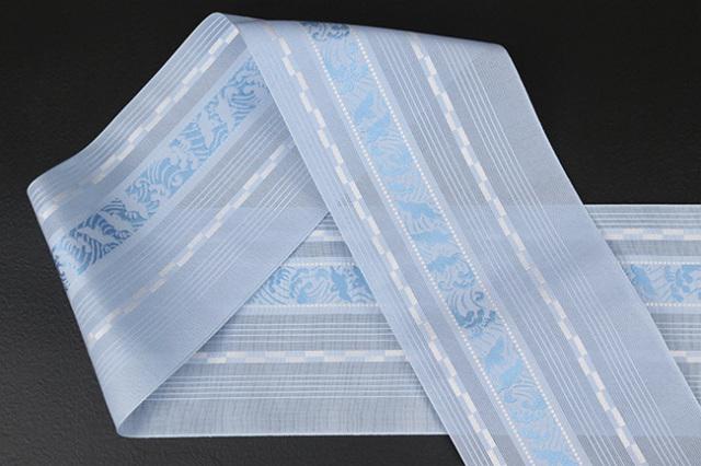 本場筑前博多織 4.3寸紗織 ゆかた帯 正絹半幅帯 波千鳥 かがり仕立付 青