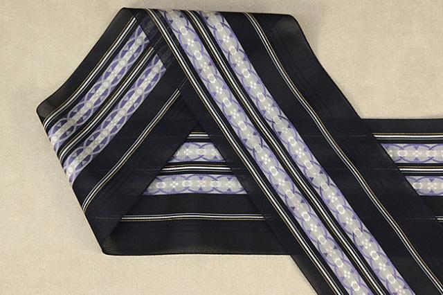 本場筑前博多織 4.3寸紗織 ゆかた帯 正絹半幅帯 輪 かがり仕立付 黒