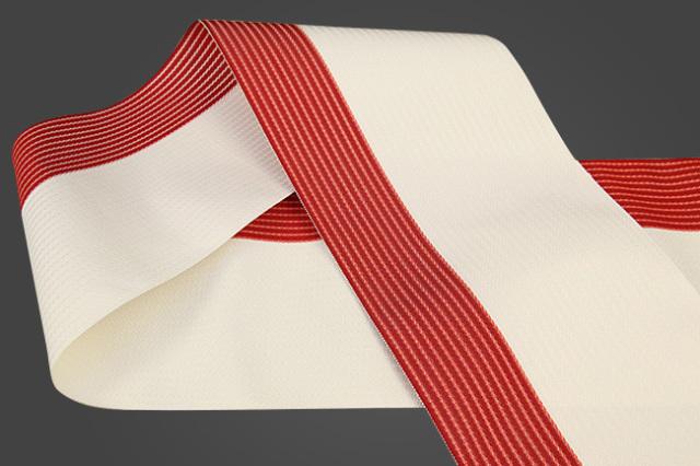 西村織物 麻絹 博多織 半幅帯 かがり仕立付 帯 赤×白