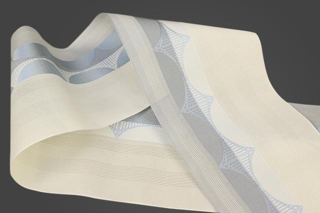 西村織物 悦 博多織 正絹半幅帯 紗 かがり仕立付 帯 絹100% 橋 灰×白