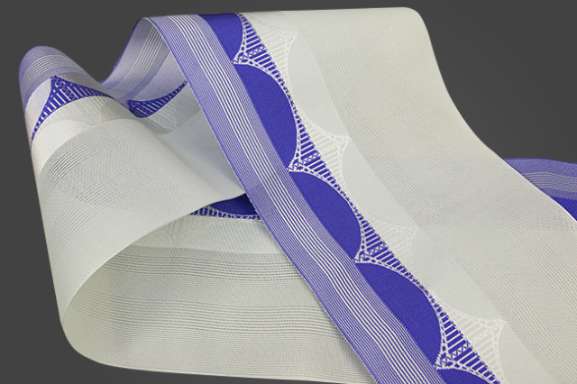 西村織物 悦 博多織 正絹半幅帯 紗 かがり仕立付 帯 絹100% 橋 青紫×灰
