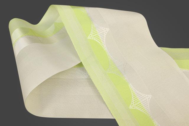 西村織物 悦 博多織 正絹半幅帯 紗 かがり仕立付 帯 絹100% 橋 黄×白