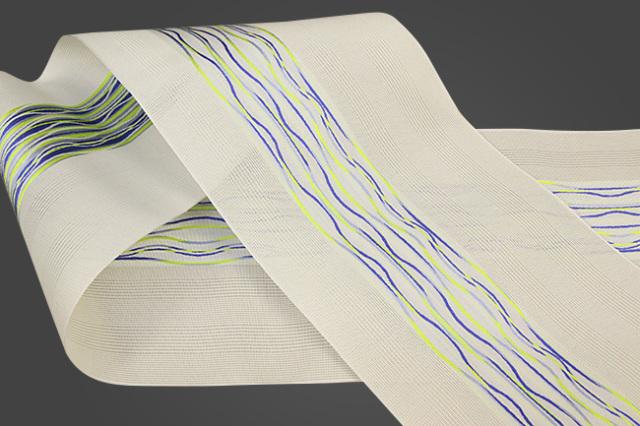 西村織物 悦 博多織 正絹半幅帯 紗 かがり仕立付 帯 絹100% 波 白×黄×青