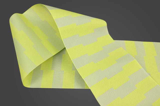 西村織物 悦 博多織 正絹半幅帯 風通 かがり仕立付 帯 ストライプ 絹100% 黄×黄緑