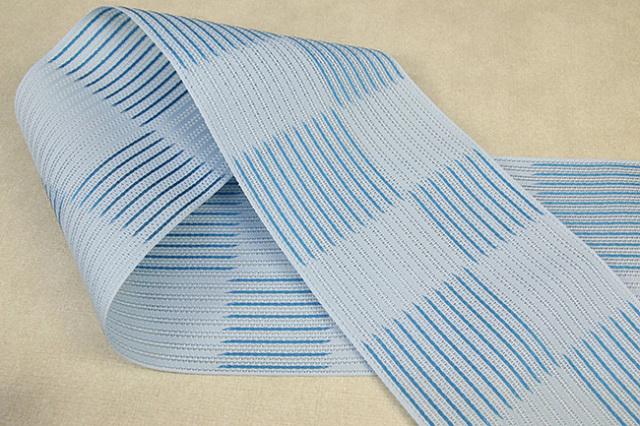 西村織物 悦 博多織 正絹半幅帯 粗紗 かがり仕立付 帯 ストライプ市松 絹100% 水色
