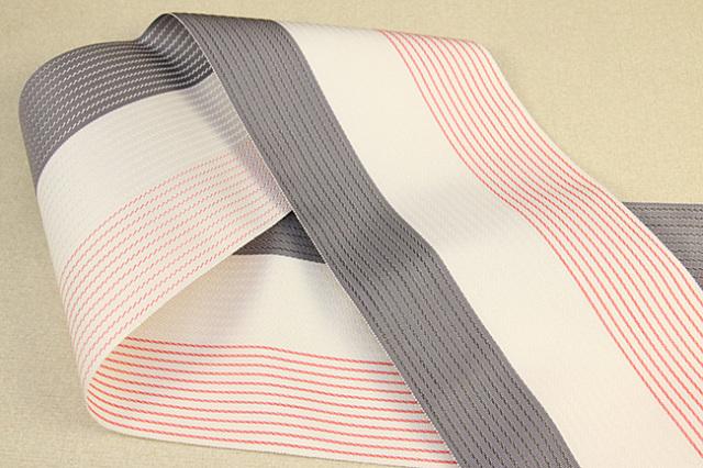 西村織物 麻絹 博多織 半幅帯 かがり仕立付 灰×白×赤