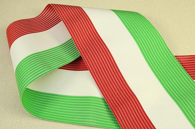 西村織物 麻絹 博多織 半幅帯 かがり仕立付 赤×白×緑