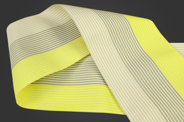 西村織物 麻絹 博多織 半幅帯 かがり仕立付 薄ベージュ×灰×黄