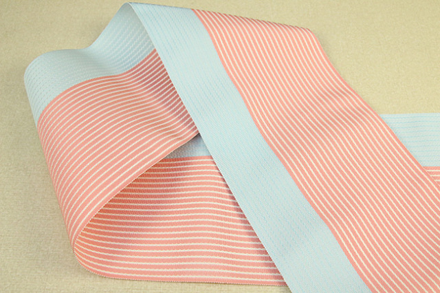 西村織物 麻絹 博多織 半幅帯 かがり仕立付 水色×朱色