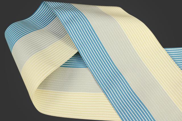 西村織物 麻絹 博多織 半幅帯 かがり仕立付 水色×灰×白
