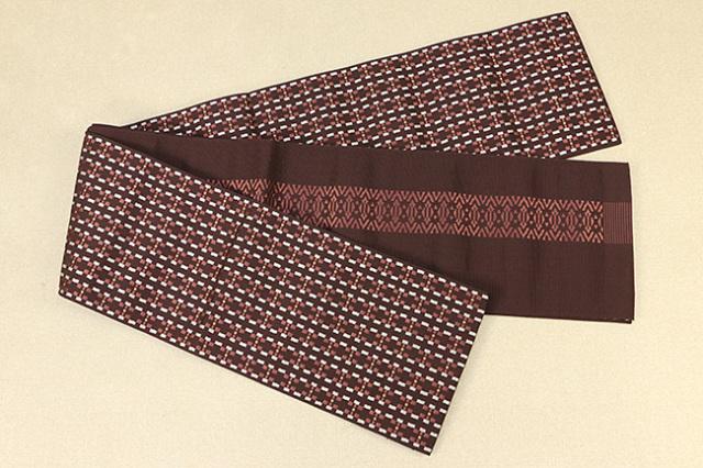西村織物 結 博多織 正絹半幅帯 かがり仕立付 モダン幾何学 絹100% 赤×赤茶