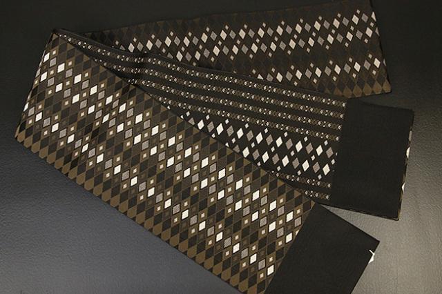 紋小巾袋帯 博多織 二面平縞 正絹半幅帯 かがり仕立付 茶 菱形