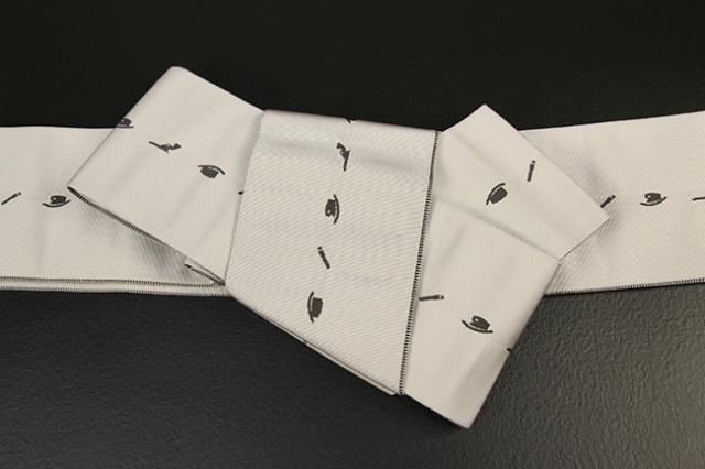 博多織 西村織物 角帯 正絹 片風通 ウエスタン ベージュ