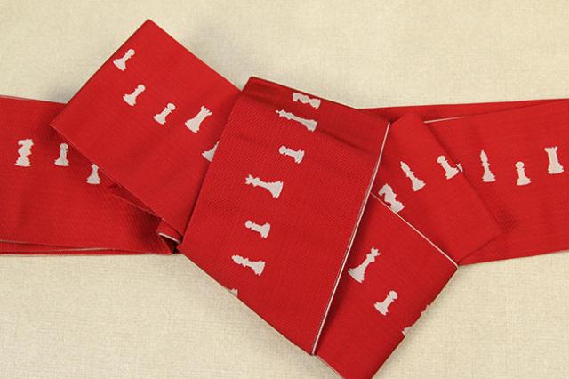 博多織 西村織物 角帯 正絹 片風通 チェス 赤