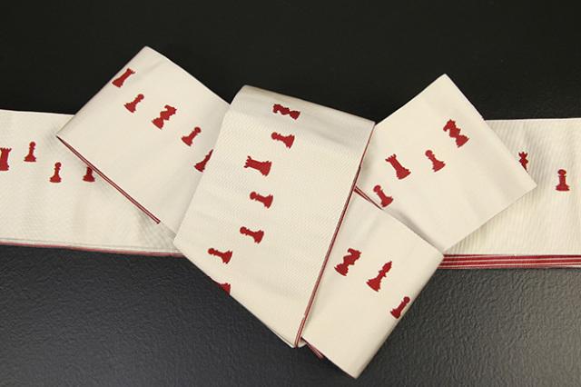 博多織 西村織物 角帯 正絹 片風通 チェス 白×赤