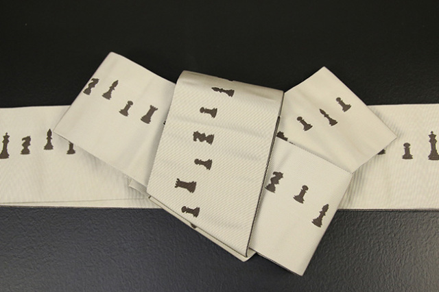 博多織 西村織物 角帯 正絹 片風通 チェス 白×こげ茶