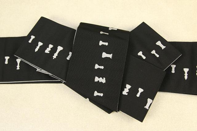 博多織 西村織物 角帯 正絹 片風通 チェス 黒×白