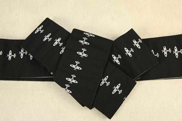 博多織 西村織物 角帯 正絹 片風通 飛行機 黒×白