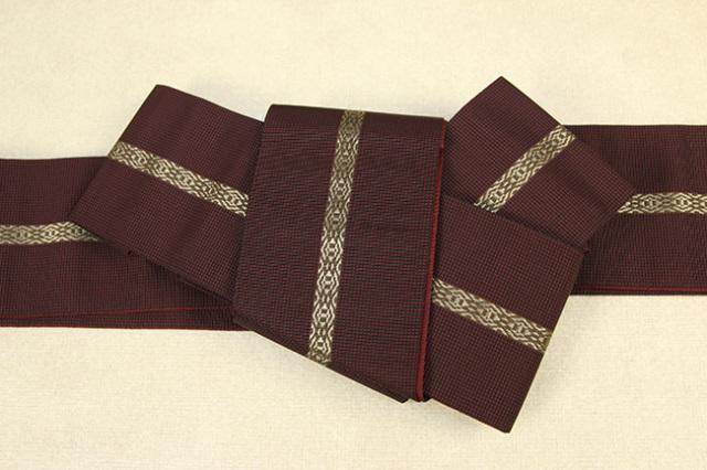 博多織 西村織物 角帯 正絹 悦 赤×黒