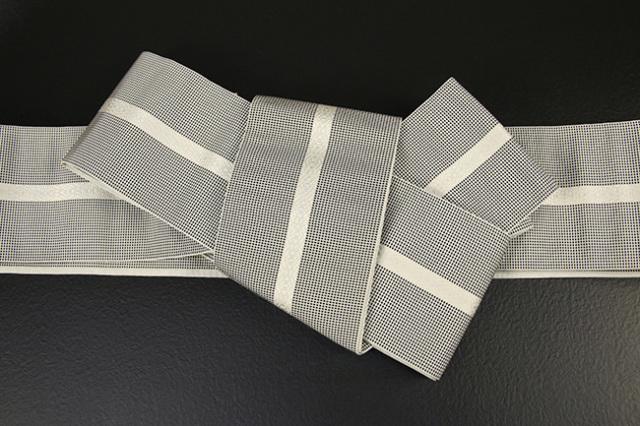 博多織 西村織物 角帯 正絹 悦 紺×ベージュ