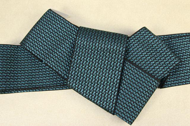 博多織 西村織物 角帯 正絹  道轍 綟鎖 青緑