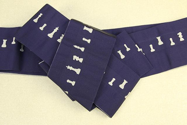 博多織 西村織物 角帯 正絹 片風通 チェス 紺×灰