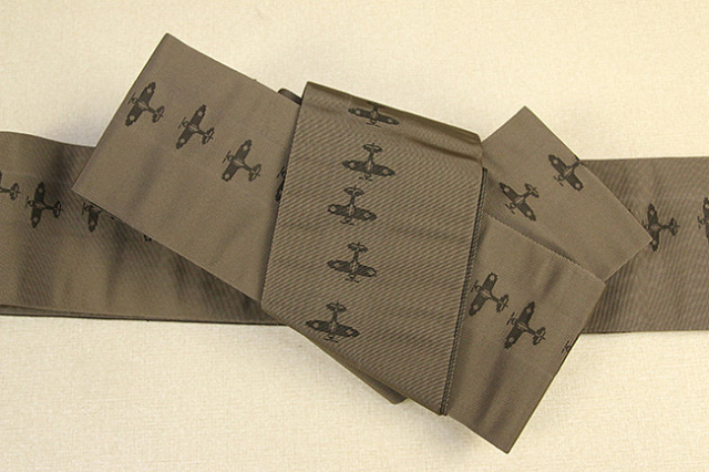 博多織 西村織物 角帯 正絹 片風通 飛行機 茶×こげ茶