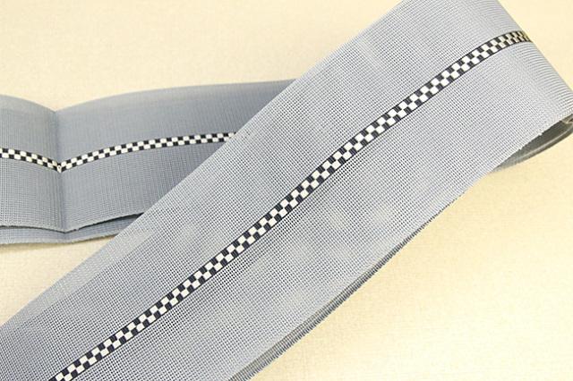博多織 西村織物 夏用 角帯 正絹 紗 市松 灰