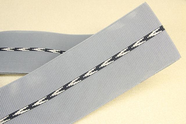 博多織 西村織物 夏用 角帯 正絹 紗 矢印 灰