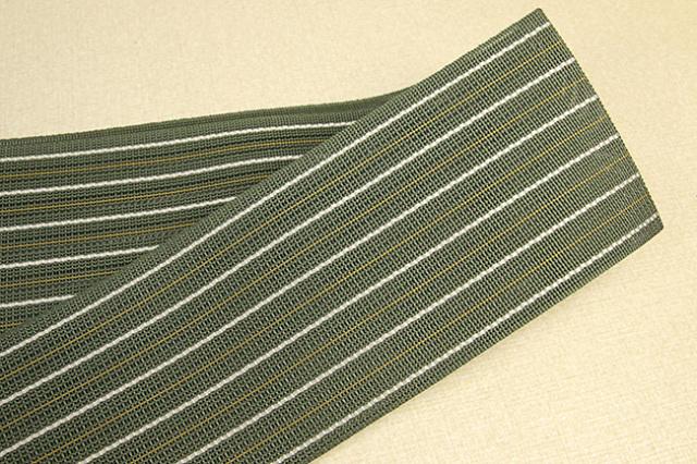 博多織 西村織物 夏用 角帯 正絹 紗 ストライプ 深緑