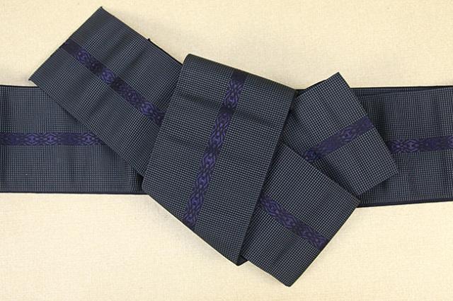 博多織 西村織物 角帯 正絹 悦 灰×紺