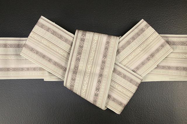 博多織 西村織物 角帯 正絹 朱子浮2 アイボリー