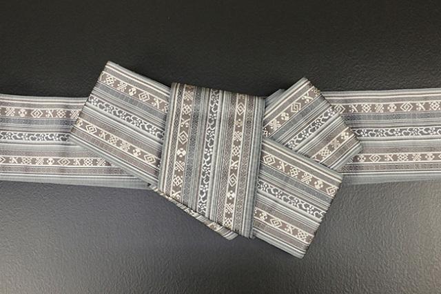 博多織 西村織物 角帯 正絹 朱子浮2 灰