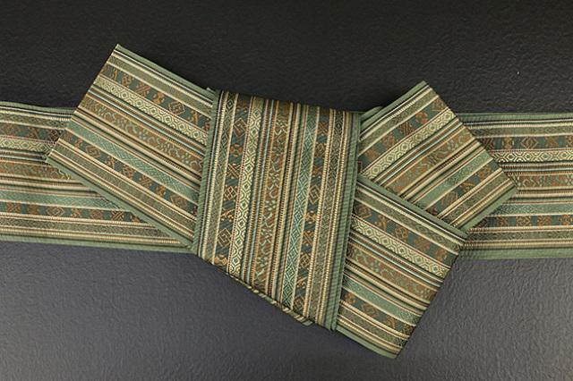 博多織 西村織物 角帯 正絹 朱子浮2 緑