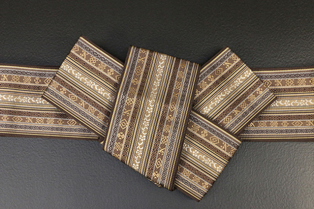 博多織 西村織物 角帯 正絹 朱子浮2 茶