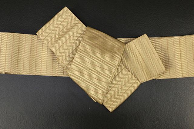 博多織 西村織物 角帯 正絹 総浮 黄