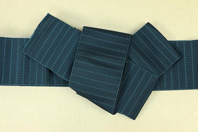 博多織 西村織物 角帯 正絹 総浮 濃青緑