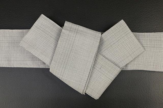 博多織 西村織物 角帯 麻 からむし織 灰