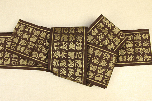 博多織 正絹 角帯 さむらい 干支 茶