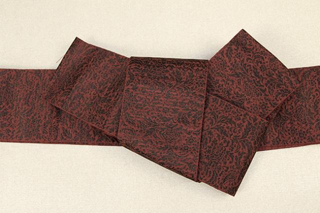 博多織 西村織物 角帯 正絹 道轍 織更紗 唐花文 赤
