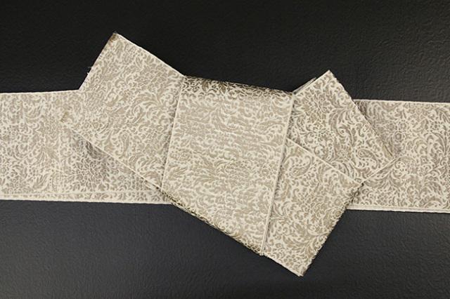 博多織 西村織物 角帯 正絹 道轍 織更紗 唐花文 生成り色