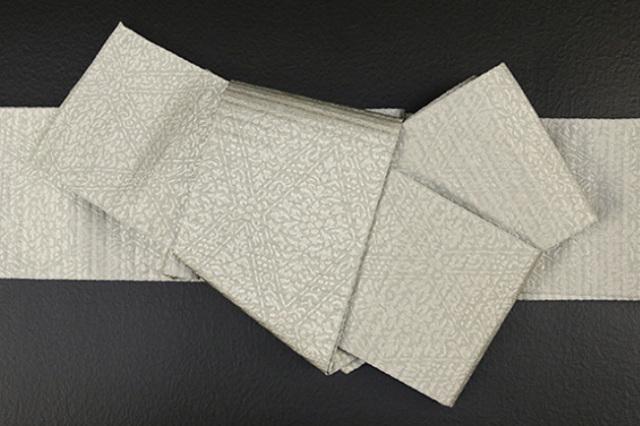 博多織 西村織物 角帯 正絹 道轍 織更紗 六花菱 灰