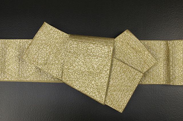 博多織 西村織物 角帯 正絹 道轍 織更紗 六花菱 金茶