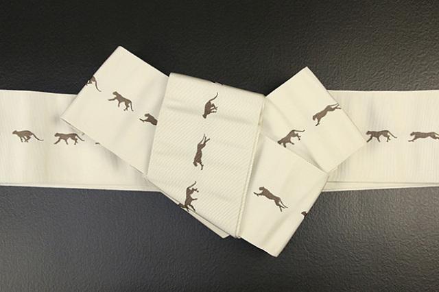 博多織 西村織物 角帯 正絹 チーター ベージュ