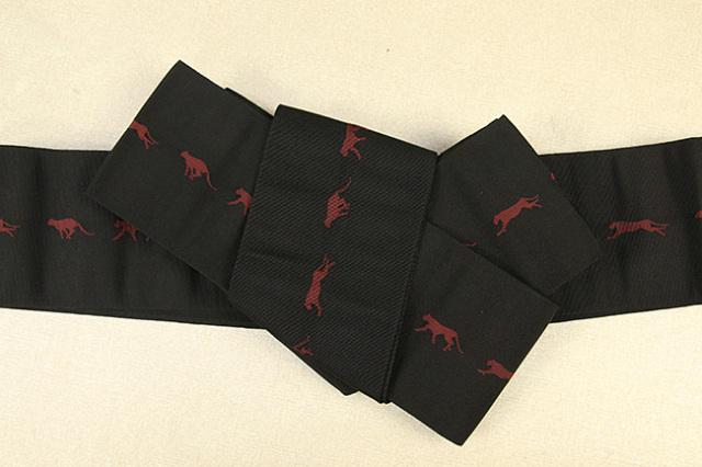 博多織 西村織物 角帯 正絹 チーター 黒