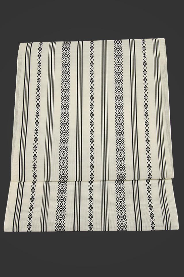 黒木織物 博多織 八寸名古屋帯 正絹 紗 白 献上柄 仕立付き
