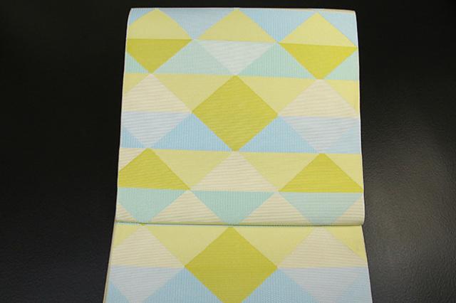 西村織物 博多織 マラケシュ トリアングル 八寸名古屋帯 正絹 黄 お仕立て付き