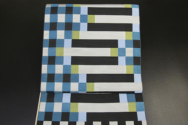 西村織物 博多織 マラケシュ レイユール 八寸名古屋帯 正絹 青緑 お仕立て付き